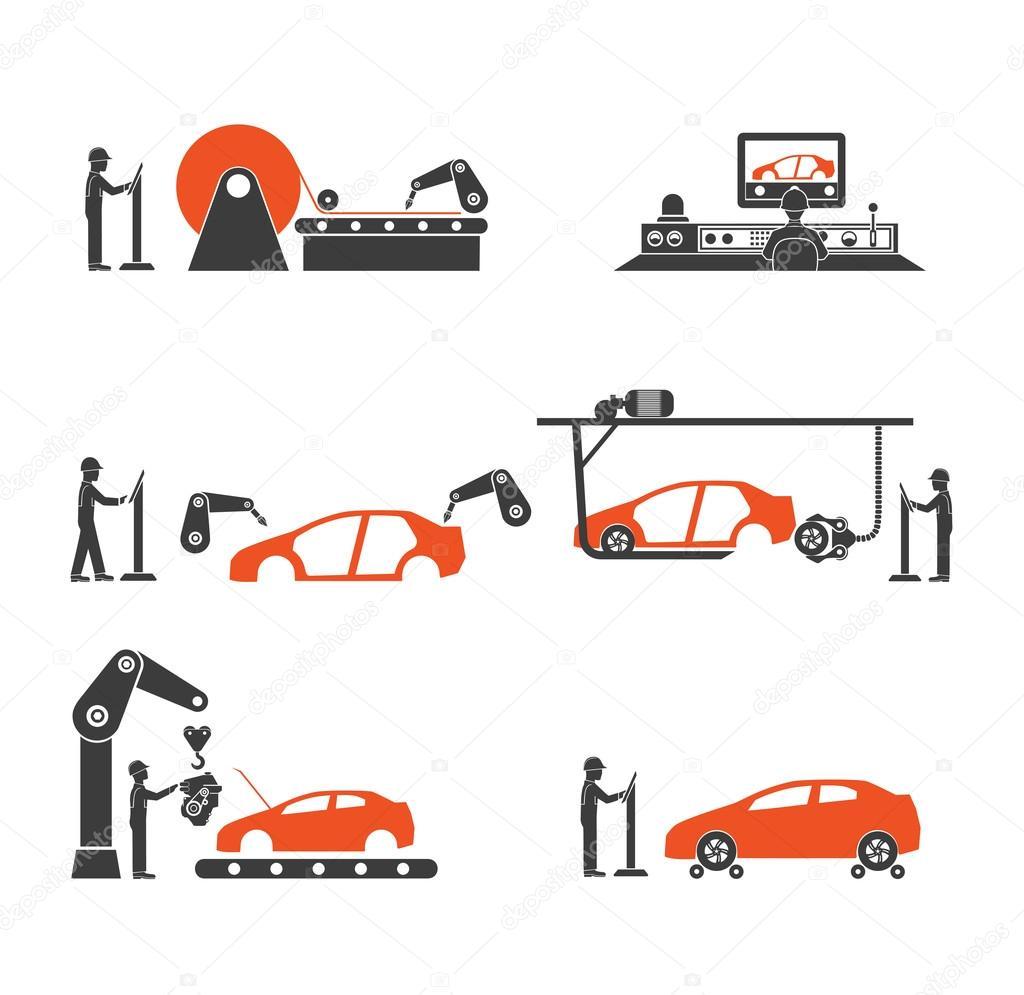 ligne de production de voiture ic ne image vectorielle matc 108860138. Black Bedroom Furniture Sets. Home Design Ideas