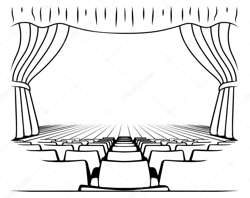 sc ne de th tre dessin noir et blanc image vectorielle matc 120655356. Black Bedroom Furniture Sets. Home Design Ideas