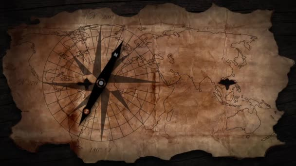 Old map with a compass needle