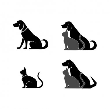 Silhouette of a cat and dog for your design clip art vector