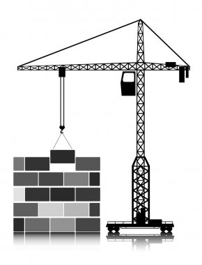 Tower crane builds the house of blocks
