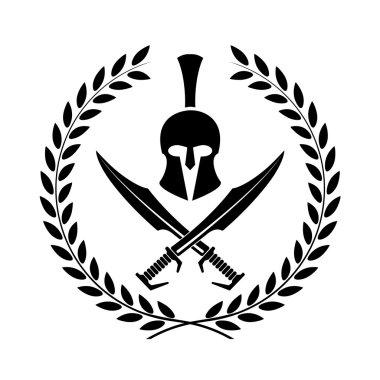 Spartan helmet icon symbol of a warrior