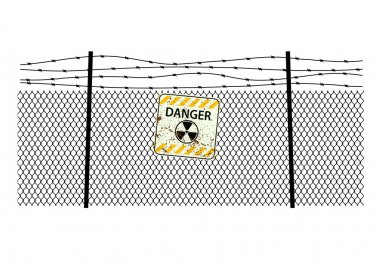 sign radiation on  steel fencing with a barbed wire