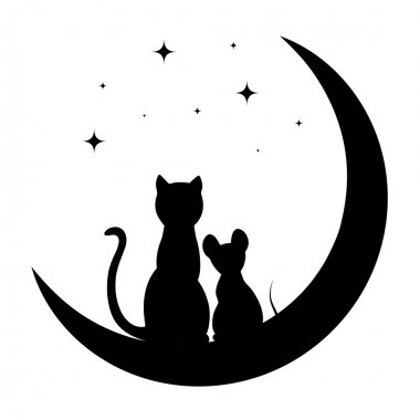 cat and little mouse sitting on the moon