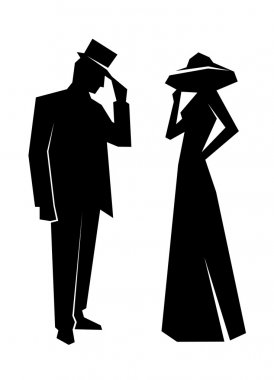 silhouette of the lady and gentleman