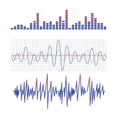 On the image  is presented equalizer. scheme of radio waves stock vector