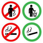 Zákazy značky. Nepohazují odpadky, nekouřit.