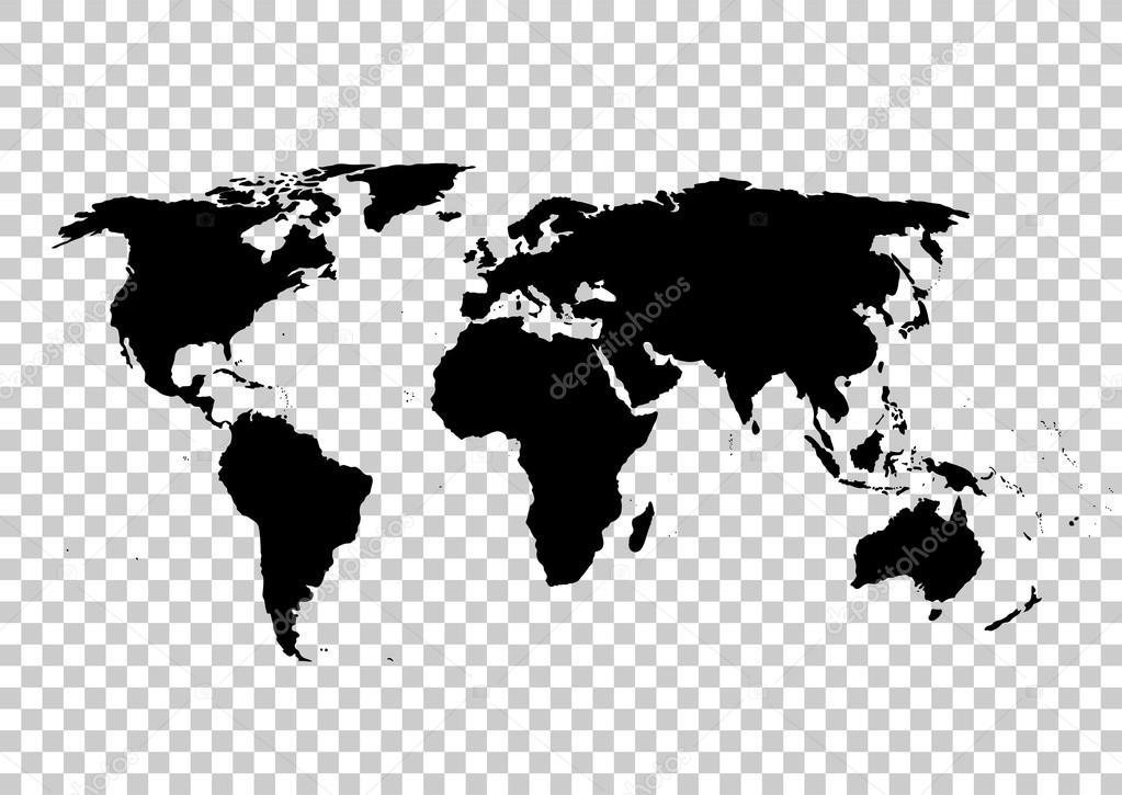 Black Vector Map. World Map Blank. World Map Template.World Map On The