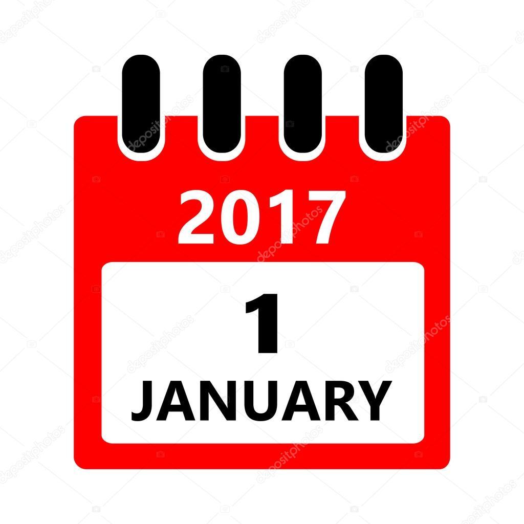 1 月 1 日。カレンダーのアイコ...