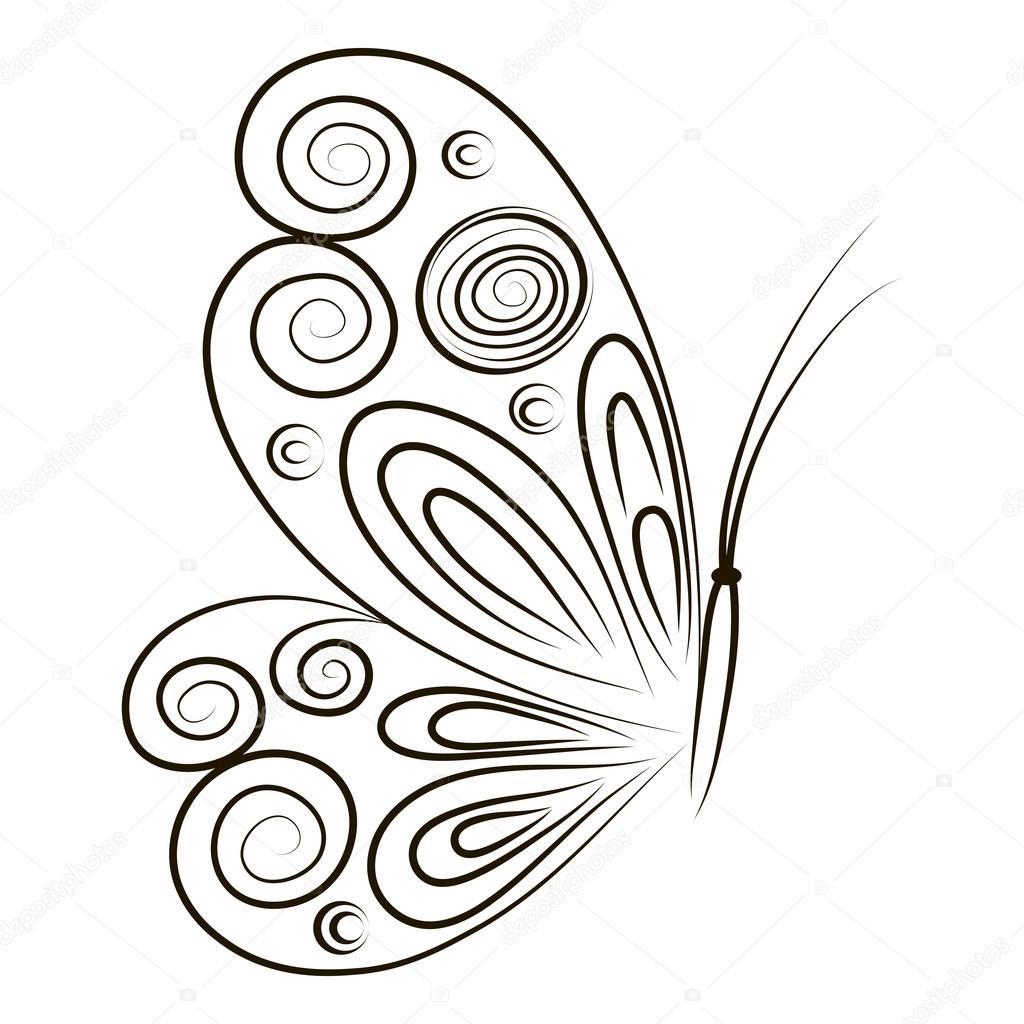Hand-Drawn Vektor-Illustration Schmetterling isolierten auf weißen ...