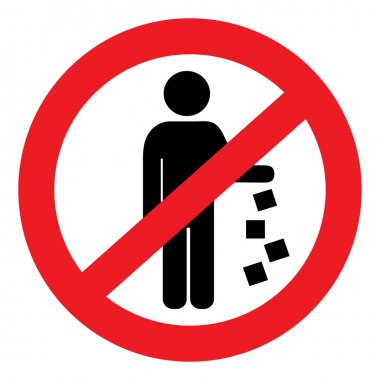 Round vector sign prohibiting littering
