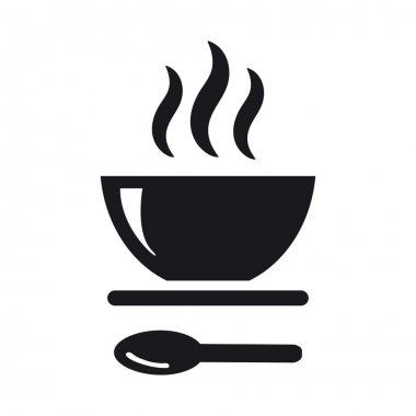 Black Icon of soup and spoon