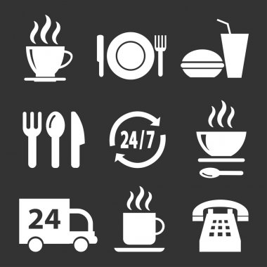 Set of vector icons with food on a dark background