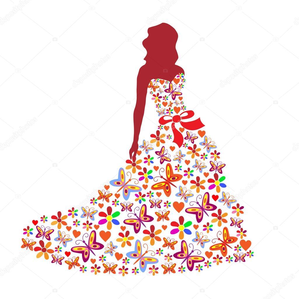 Рисунок силуэт девушки в платье