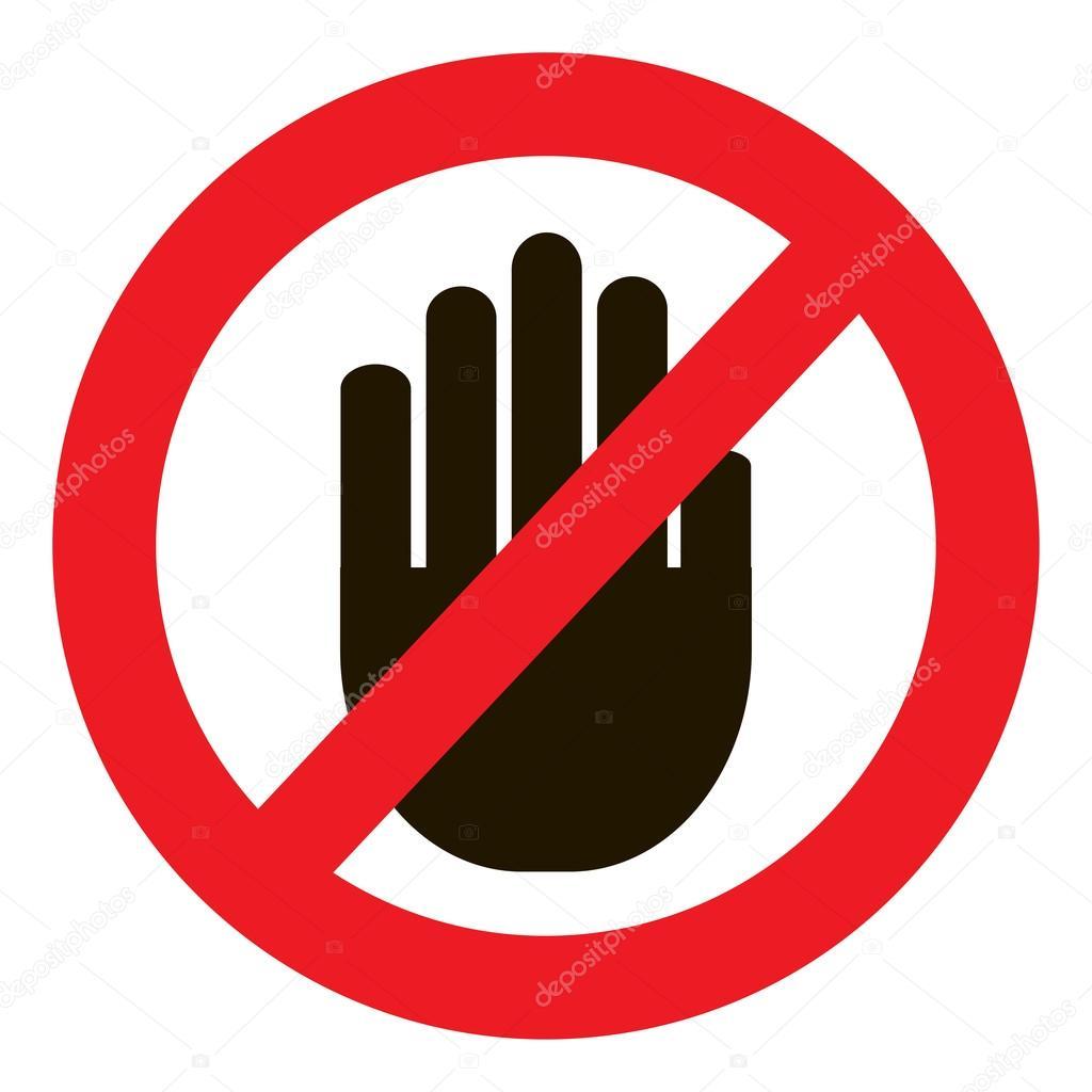 alto no hay entrada signo de mano negra sobre fondo blanco con