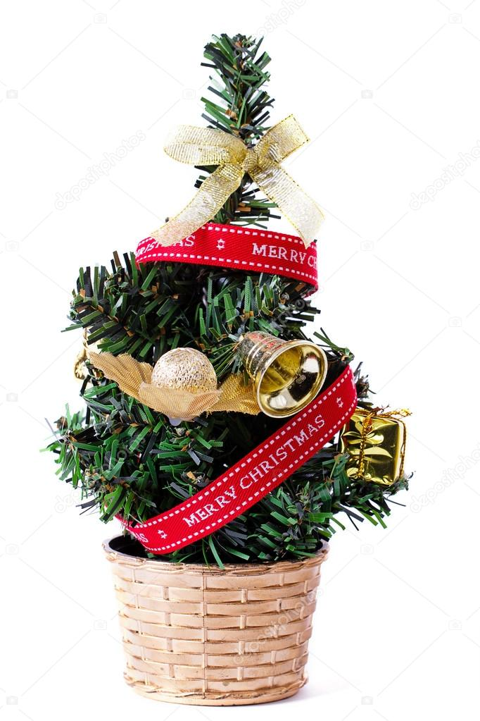 small decorative christmas tree stock photo