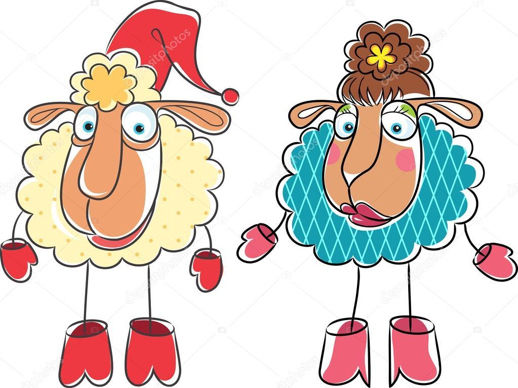 Dibujos animados de navidad dibujo de carnero y oveja - Dibujos decorativos de navidad ...