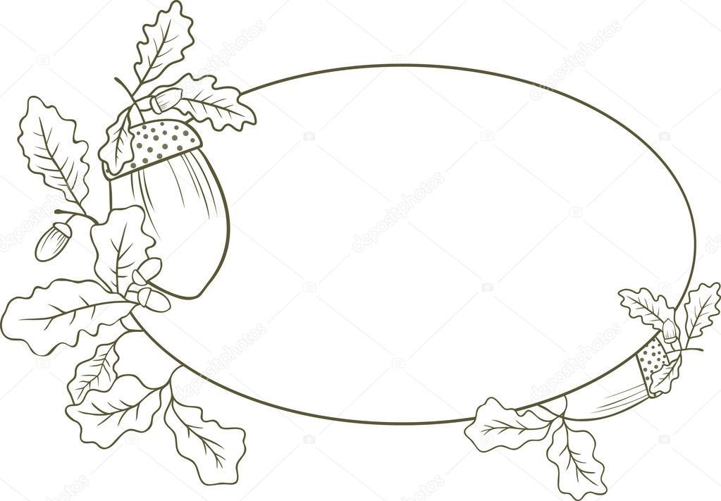 Hoja de encina para colorear | Marco en forma de un óvalo con hojas ...
