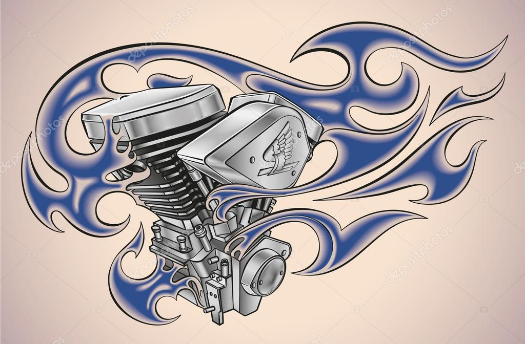 Flaming Tattoo Motor Image Vectorielle Artefy C 96473146