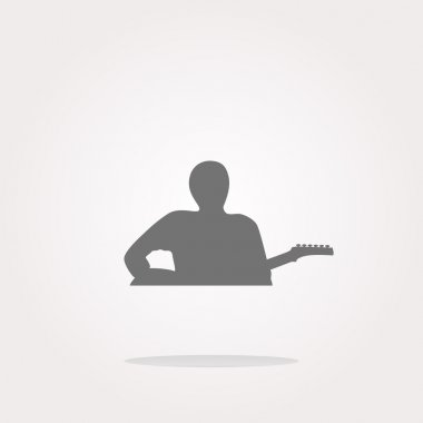 vector guitarist web icon button isolated on white. Web Icon Art. Graphic Icon Drawing