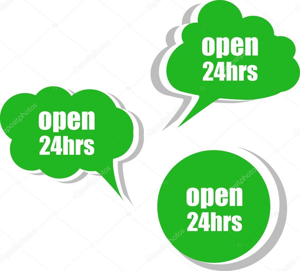 Abra palabra 24 horas en la plantilla de diseño moderno banner ...