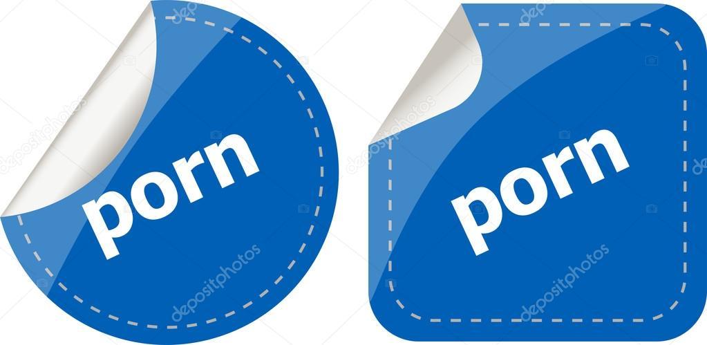 Porn stickers set on white, icon button isolated on white