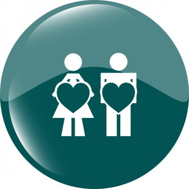 heart on woman and man hands web button, icon woman and man in love