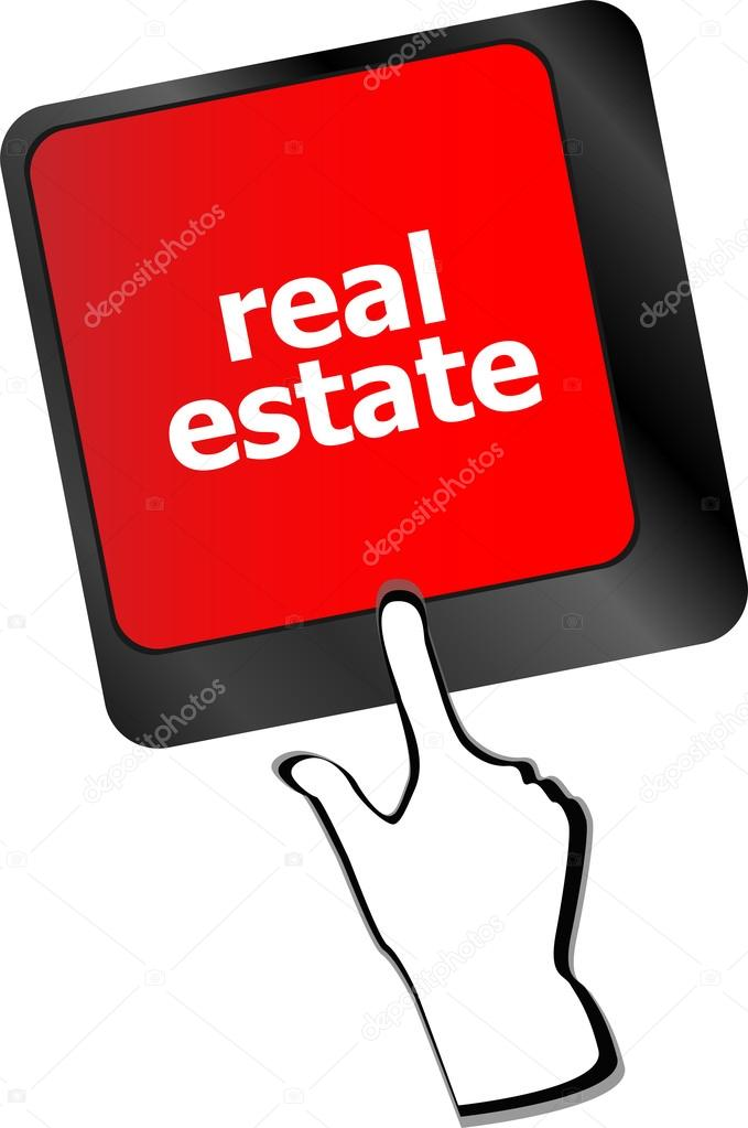 Real Estate concept  hot key on computer keyboard with Real Estate