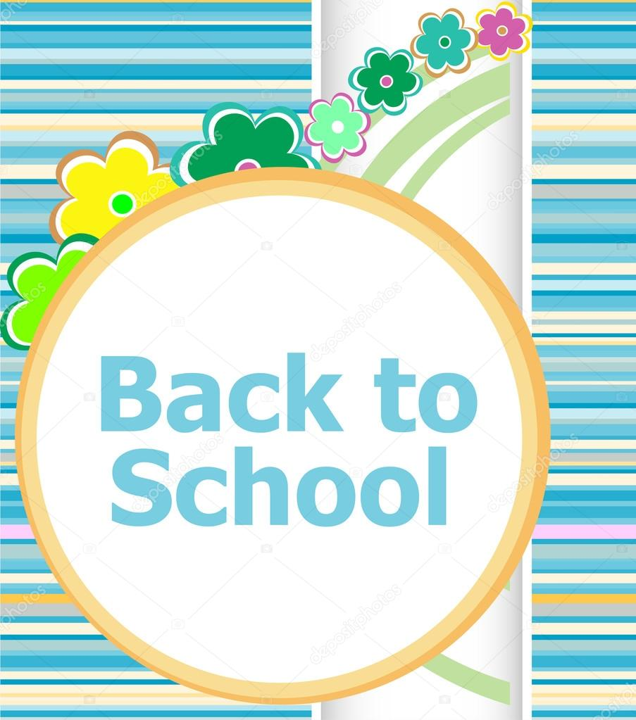 Back to school invitation card with flowers, education