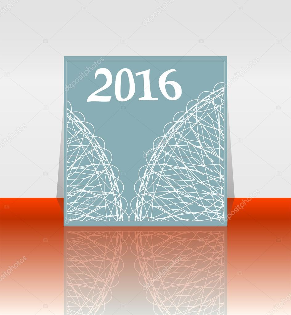 Polygon numbers of New Year 2016 over elegant festive colorful background, for greeting, invitation card, or cover