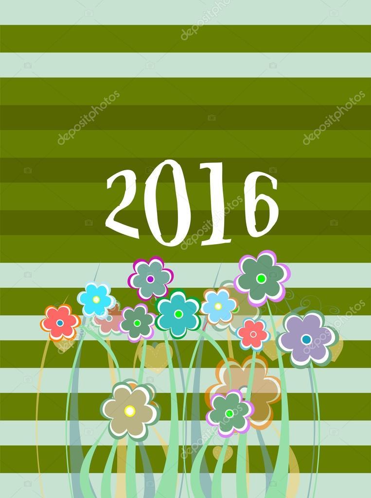 2016-Weihnachtskarte mit Blumen umrahmt. Urlaub-Ornamente ...