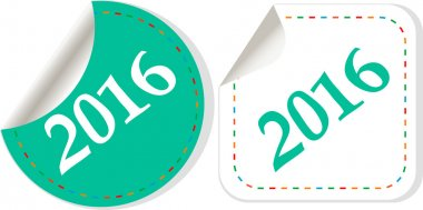 Happy new year 2016 icon with shadow on a grey button