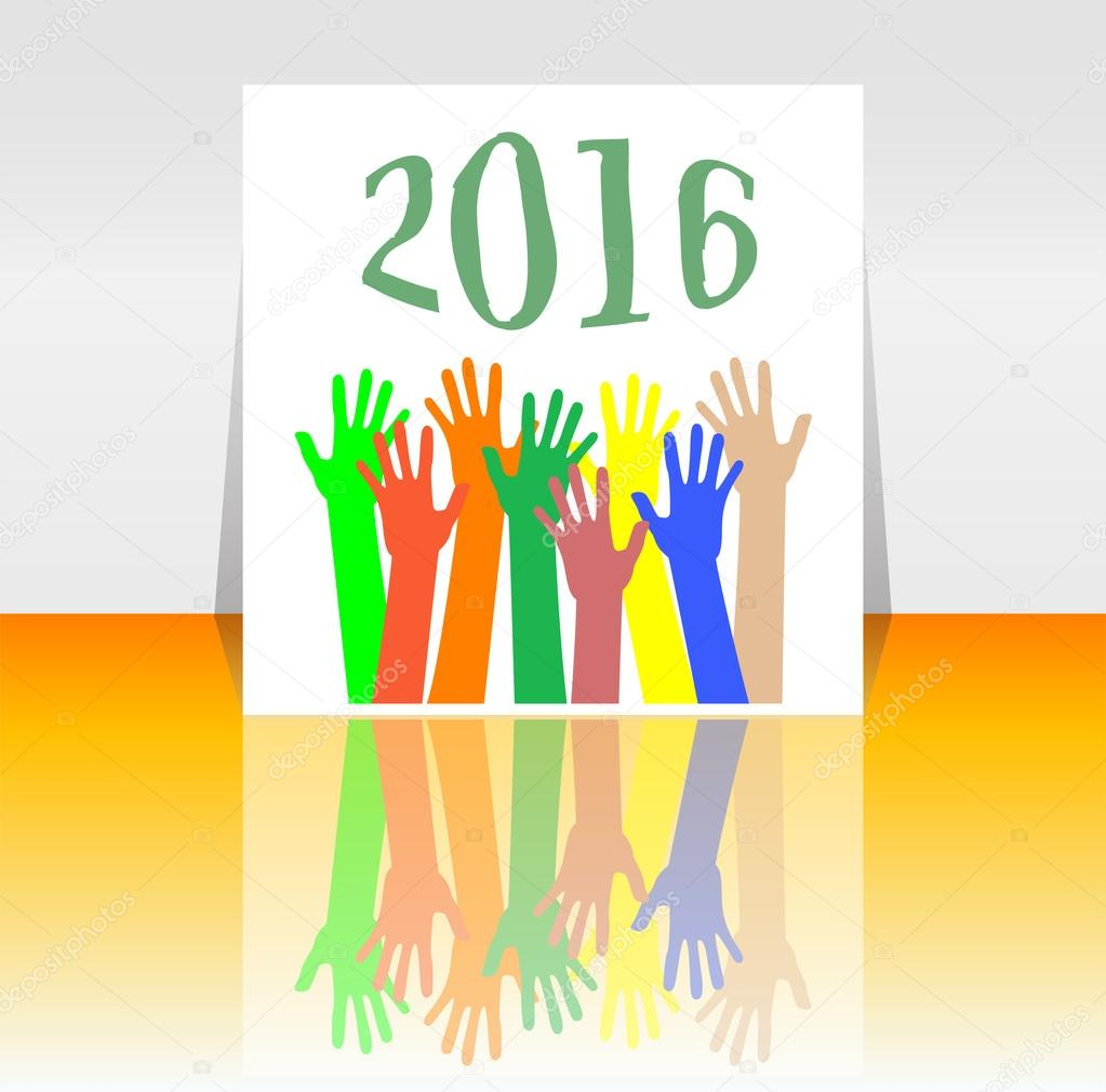 2016 and people hands set symbol. The inscription 2016 in oriental style on abstract background
