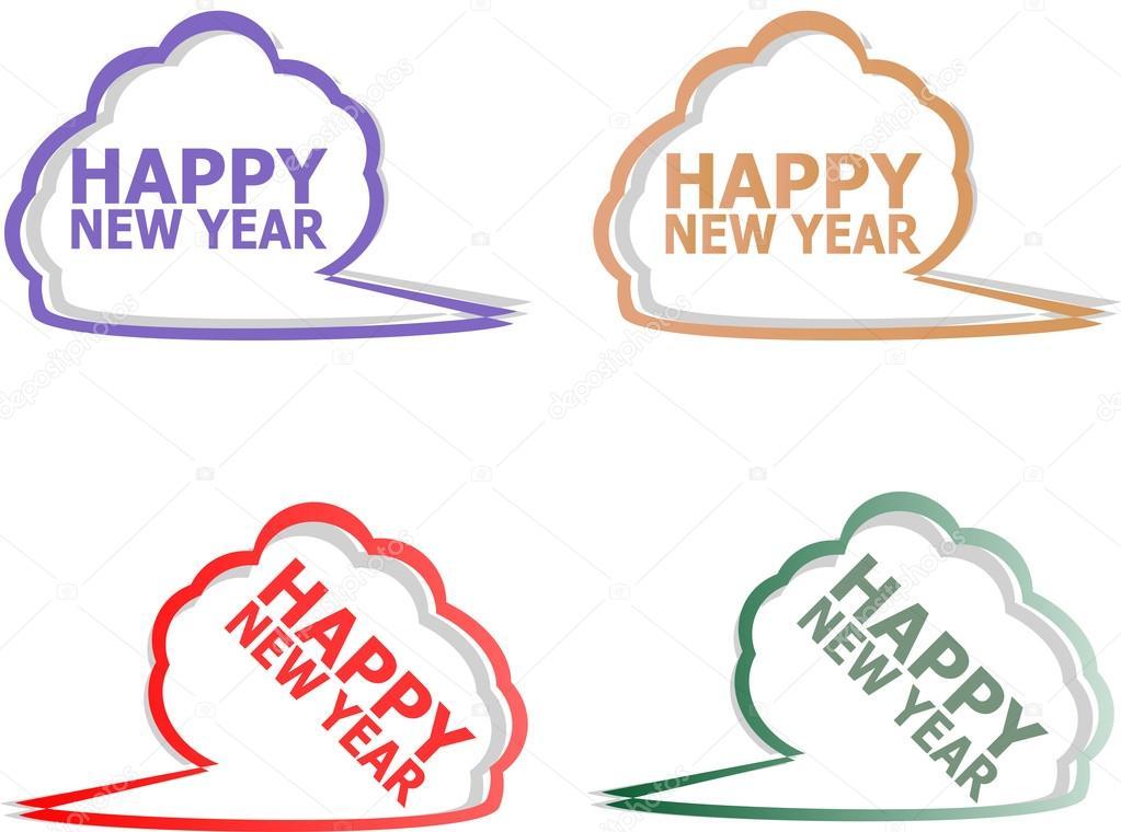 Vector guten Rutsch ins Neue Jahr Aufkleber Set isoliert auf weiß ...