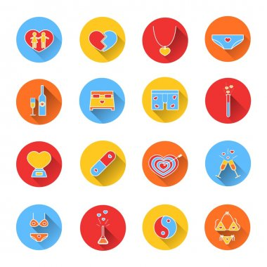 Set of colored icons for Valentines day.