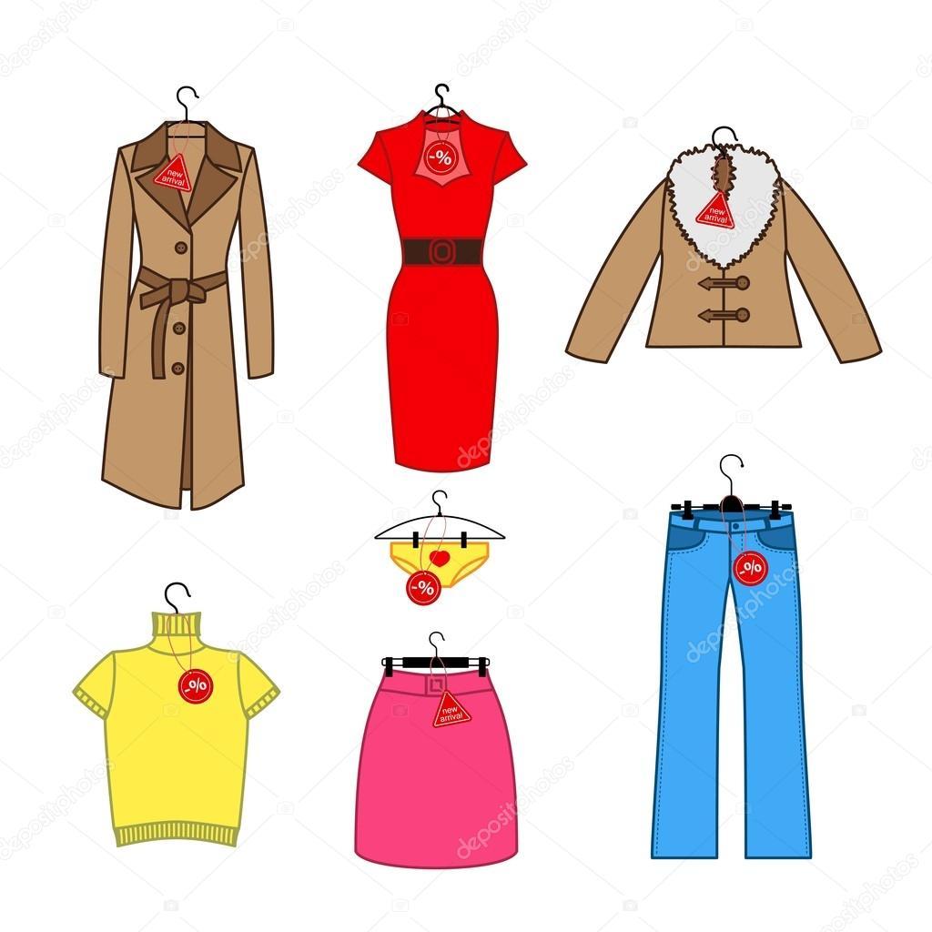 e5e530019 Conjunto de ícones do vetor de trempel de roupas femininas com chegada nova  marca