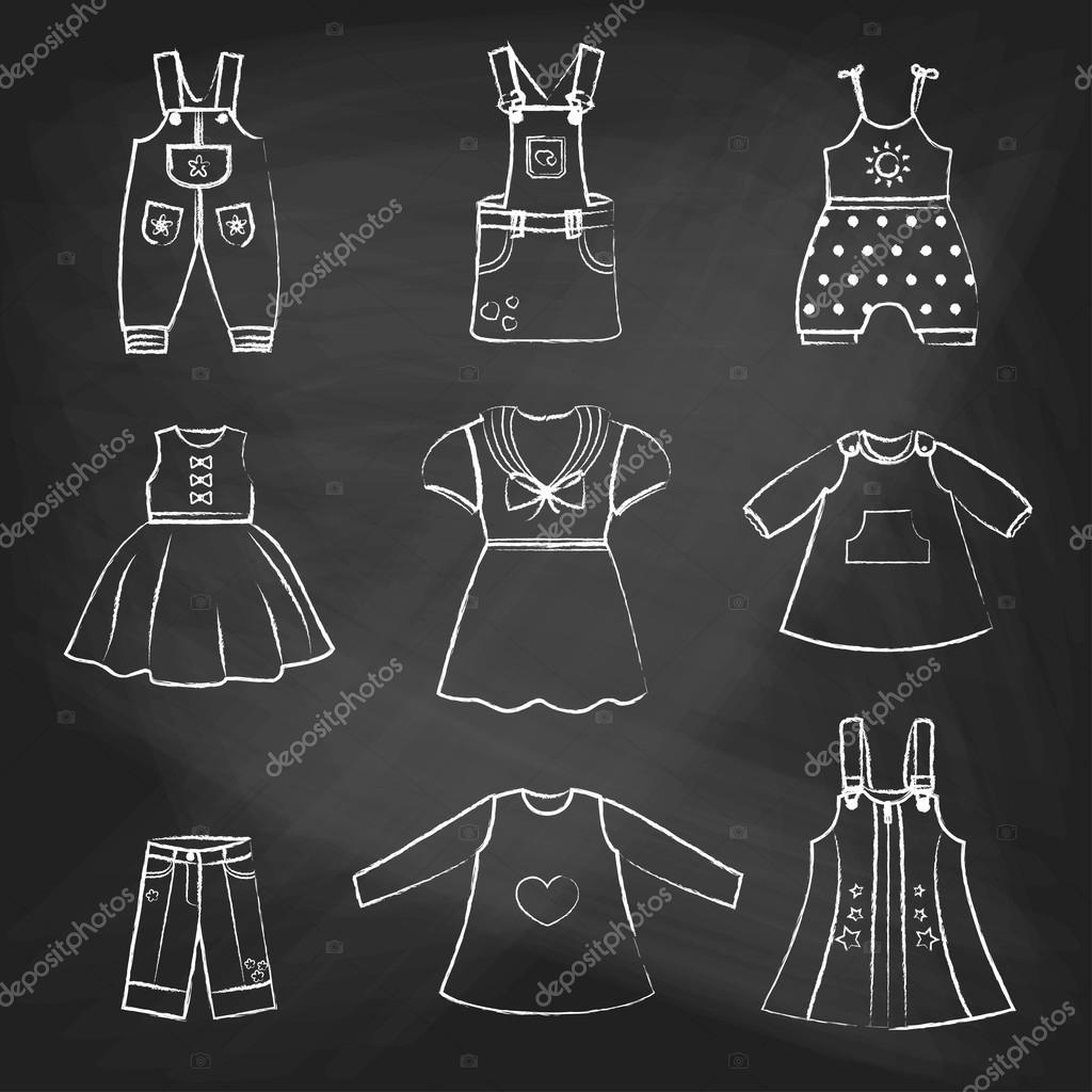 CHALK style icons. Set of cute dresses for the little girl. Collection of clothing in a linear style for the child. Vector outline illustration. Vector outline illustration set for your design