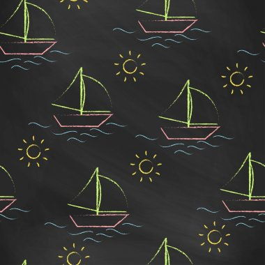 Seamless pattern black chalk board with color childrens chalk drawings. Hand-drawn style.  Seamless vector wallpaper with the image of boat, sea and sun