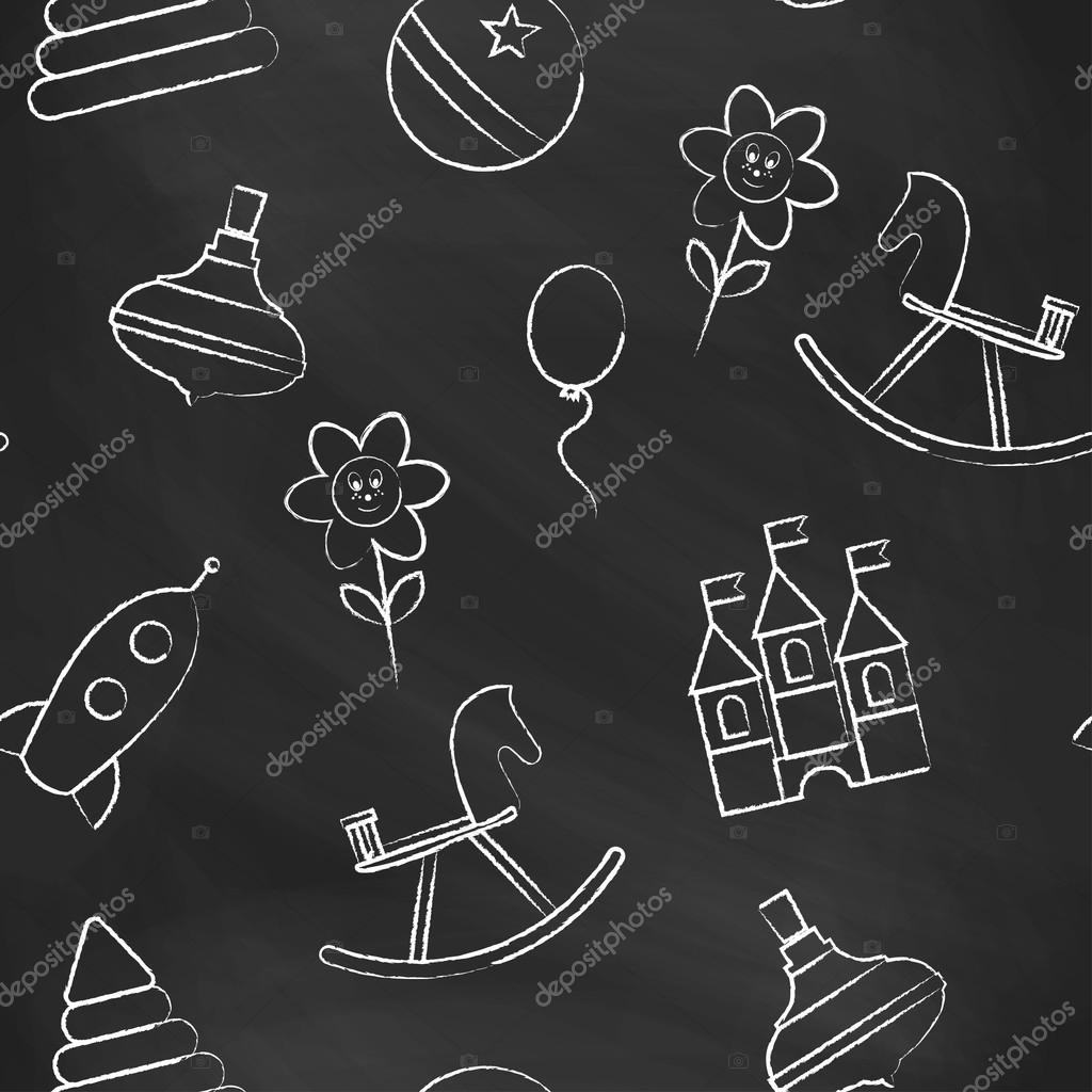 Seamless Pattern Black Chalk Board With White Childrens Drawings Hand Drawn Style Vector Wallpaper The Image Of Balloon Flower