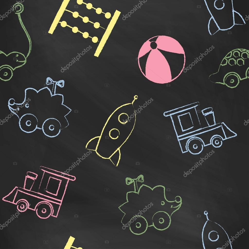 Seamless pattern black chalk board with color childrens chalk drawings. Hand-drawn style. Seamless vector wallpaper with the image of   hedgehog, key wind-up toy, rocket, train.