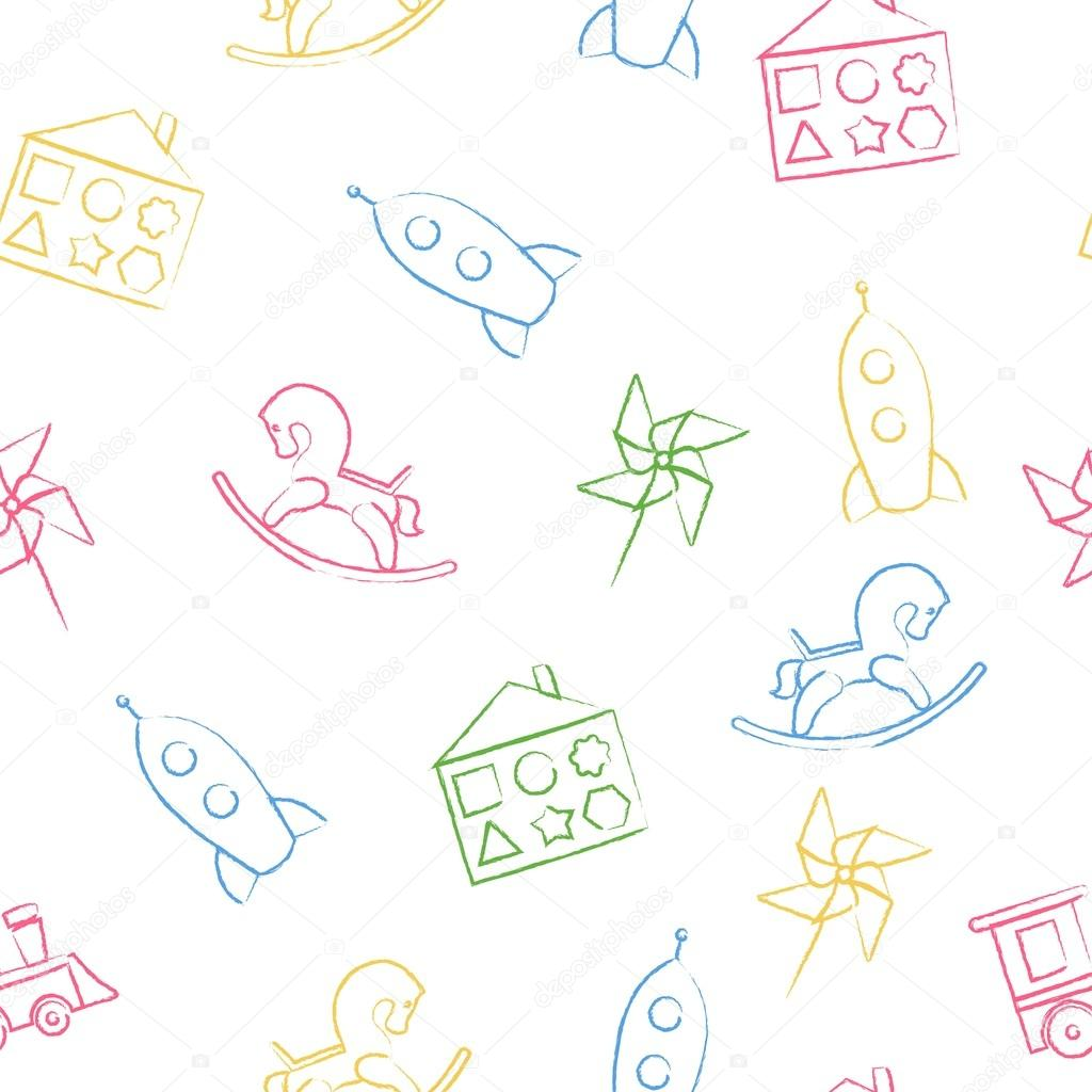 Seamless Pattern Color Childrens Chalk Drawings On White Background Hand Drawn Style Vector Wallpaper With The Image Of Rocking Horse Rocket