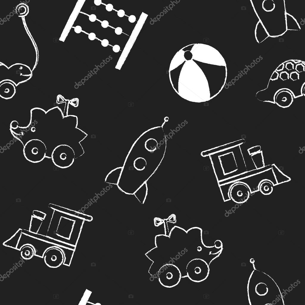 Seamless Pattern With White Childrens Chalk Drawings Jn Black Background Hand Drawn Style Vector Wallpaper The Image Of Balloon Flower