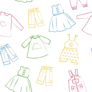 Seamless pattern white background with cute colored dresses for the little girl. Collection of clothing in a linear style for the child. Hand-drawn style. Seamless vector wallpaper