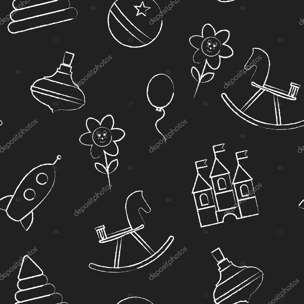 Seamless Pattern With White Childrens Chalk Drawings Jn Black Background Hand Drawn Style Vector Wallpaper The Image Of Hedgehog