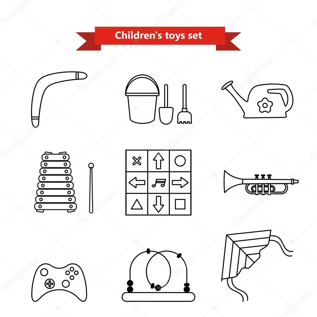 Set of vector icons of toys. Collection of toys for children. Vector illustration in a line style. Vector elements for web design, mobile applications, design flyers, discounts and advertising