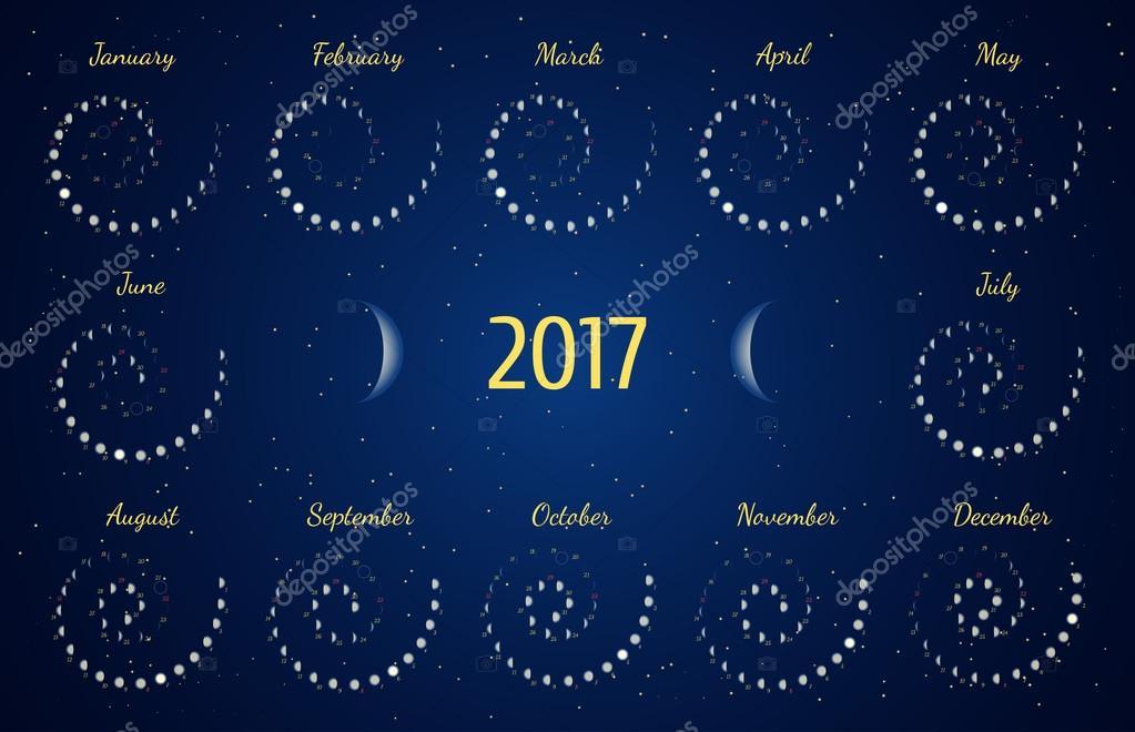 Calendrier astrologique spirale de vecteur pour 2017 - Calendrier de la lune 2017 ...