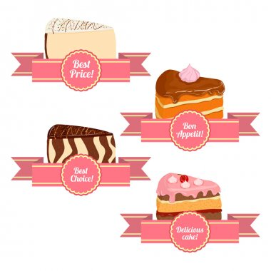 A set of of appetizing cakes. Vector collection of pieces of cake servings. Sponge cake cheesecake cherry caramel. Delicious cakes with ribbons for sales brochures advertising signboards confectionery