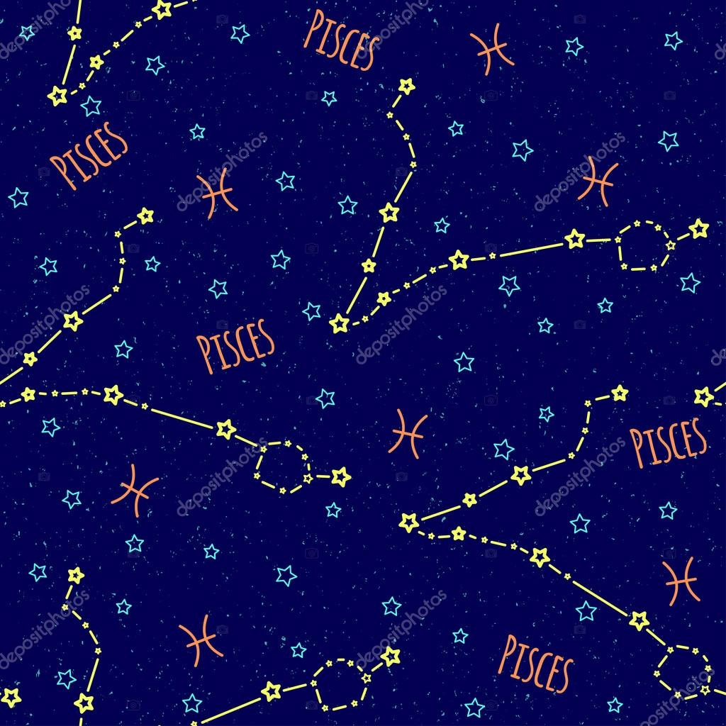 Vector pattern background with the image of constellation pisces background with the image of constellation pisces zodiac sign on a dark blue background with blue stars thecheapjerseys Gallery