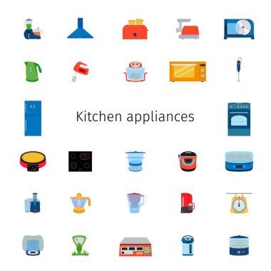 Vector illustration of icon set of kitchen equipment