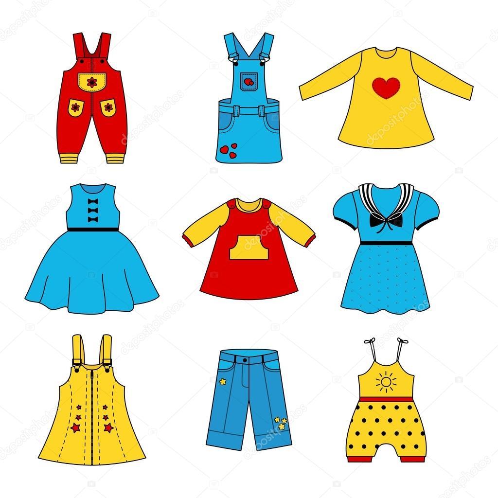 cf3499478a Insieme di colore carino vestiti per la bambina. Collezione di abiti  colorati in stile lineare per il bambino. Immagine di contorno vettoriale  set per il ...
